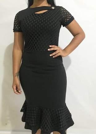 Vestido social evangélico preto liso com babado  lançamento ref 601