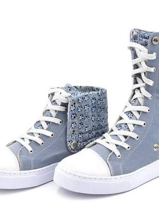 Tênis botinha cano alto jeans dobravel