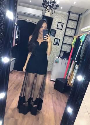 Vestido tule preto longo