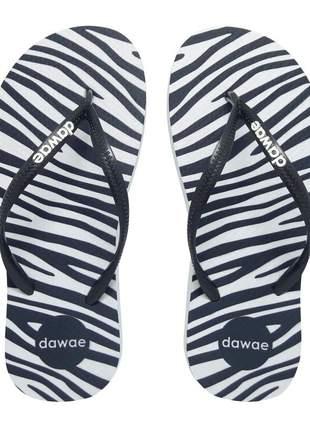 Chinelo feminino slim dawae print zebrinha preto