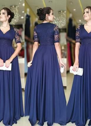 Vestido azul marinho festa luxo manguinha madrinha formanda bodas
