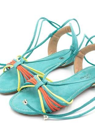 Sandália rasteira feminina azul turquesa amarrar na perna